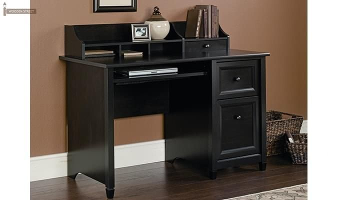 Nettle Study Table With Shelf (Black Finish)-1