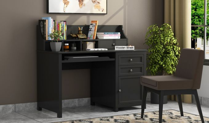 Nettle Office Table Cum Shelf (Black Finish)-1