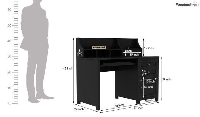 Nettle Office Table Cum Shelf (Black Finish)-6