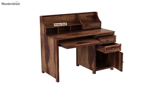 Nettle Office Table Cum Shelf (Teak Finish)-4
