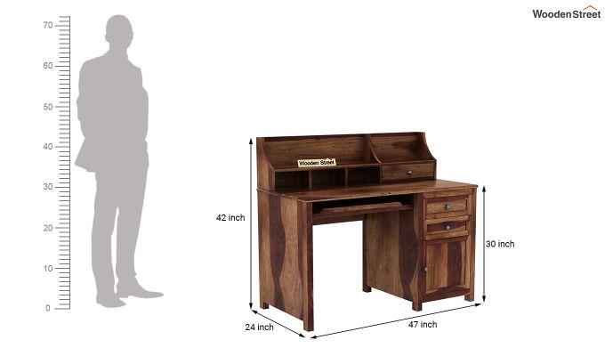 Nettle Office Table Cum Shelf (Teak Finish)-6