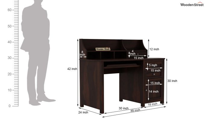 Nettle Study Table Cum Shelf (Walnut Finish)-6