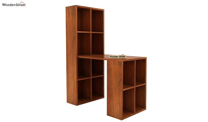 Otley Study Table With Shelf (Honey Finish)-2