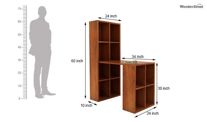 Otley Study Table With Shelf (Honey Finish)-5