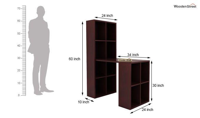 Otley Study Table With Shelf (Mahogany Finish)-5