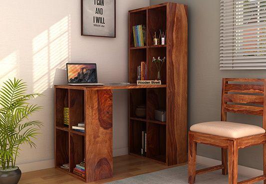 Otley Study Table With Shelf (Sheesham Wood, Teak Finish)