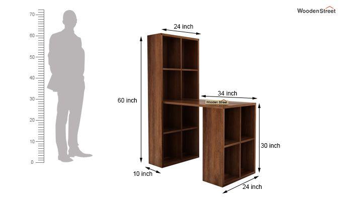 Otley Study Table With Shelf (Teak Finish)-5