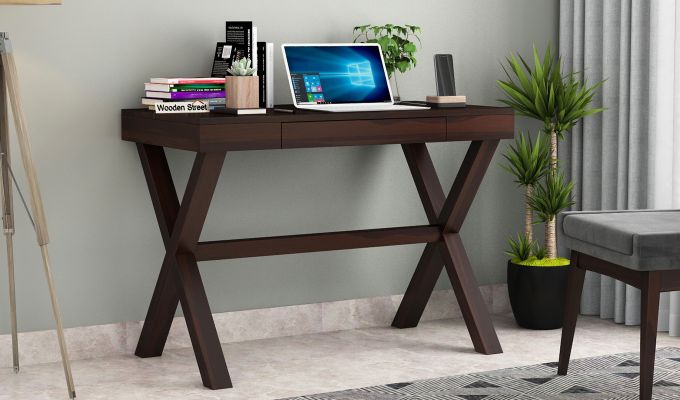 Poppy Solid Kids Computer Desk (Walnut Finish)-1