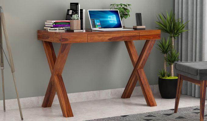 Poppy Solid Kids Computer Desk (Honey Finish)-1