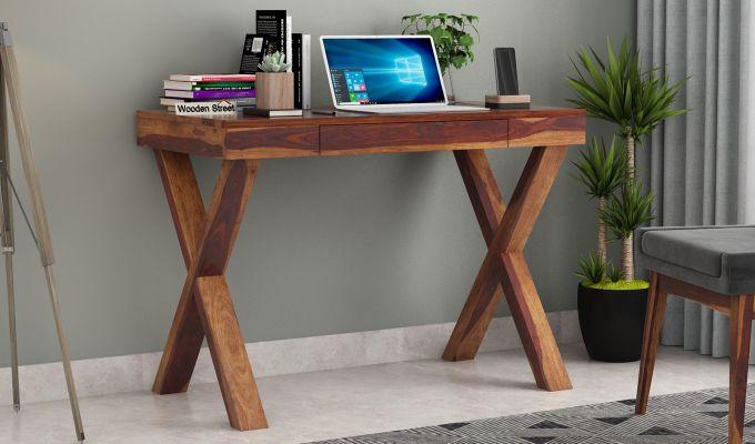 Poppy Solid Computer Desk (Teak Finish)-1