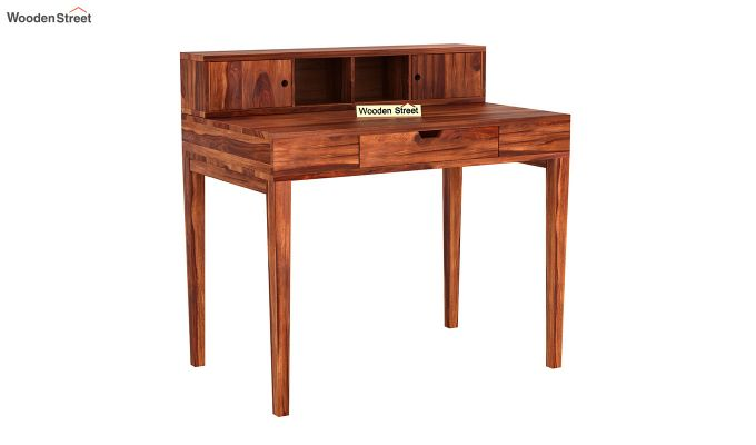 Rizzel Study Table With Shelf (Honey Finish)-2