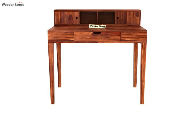 Rizzel Study Table With Shelf (Honey Finish)-3