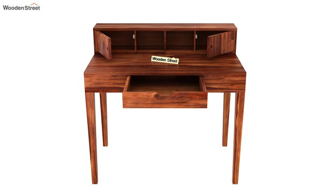 Rizzel Study Table With Shelf (Honey Finish)-7
