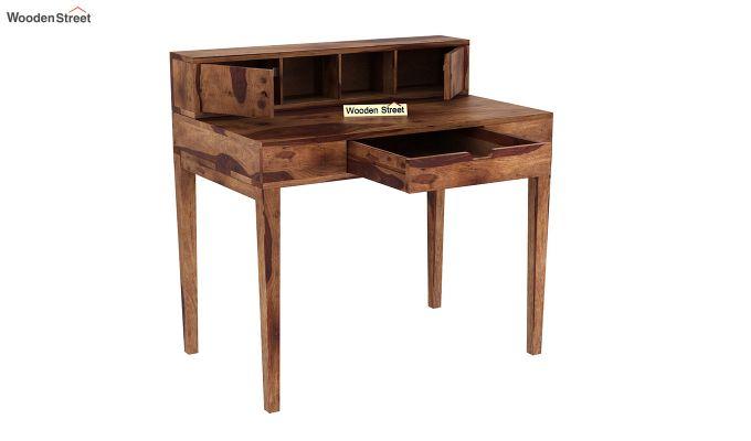 Rizzel Study Table With Shelf (Teak Finish)-4