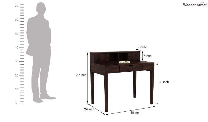 Rizzel Study Table With Shelf (Walnut Finish)-8