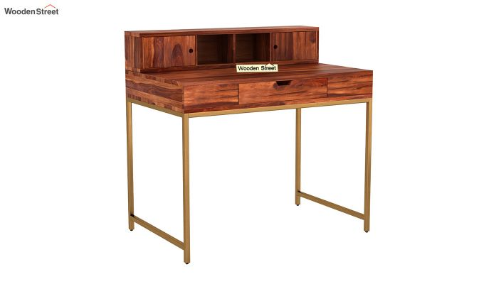 Rizzel Study Table With Shelf and Metal Legs (Honey Finish)-2