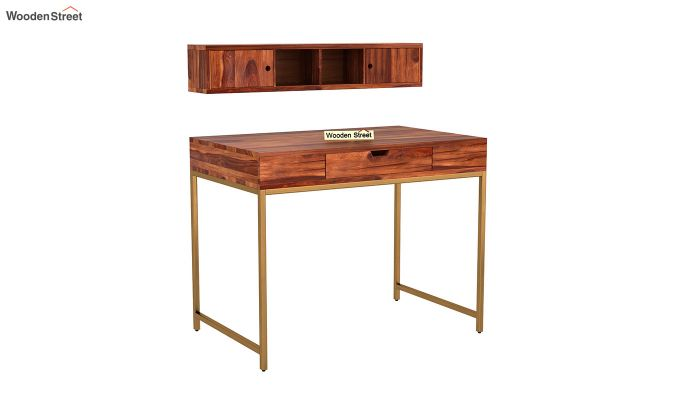 Rizzel Study Table With Shelf and Metal Legs (Honey Finish)-5