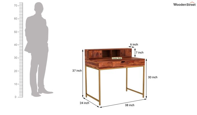 Rizzel Study Table With Shelf and Metal Legs (Honey Finish)-8