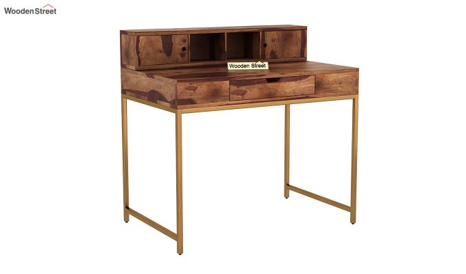 Rizzel Study Table With Shelf and Metal Legs (Teak Finish)-2