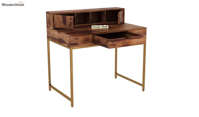 Rizzel Study Table With Shelf and Metal Legs (Teak Finish)-4