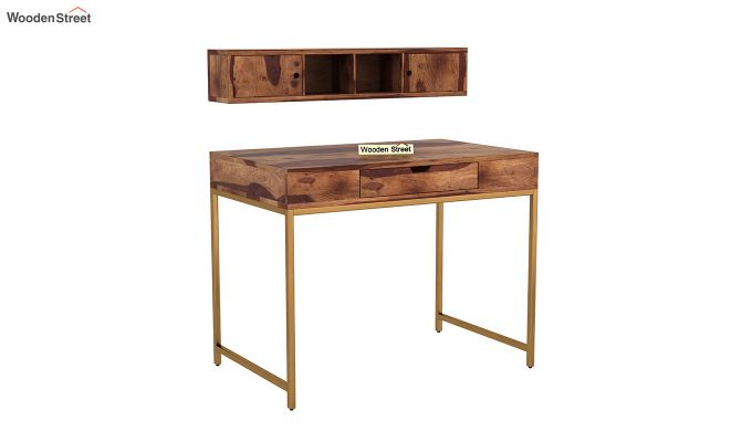 Rizzel Study Table With Shelf and Metal Legs (Teak Finish)-5