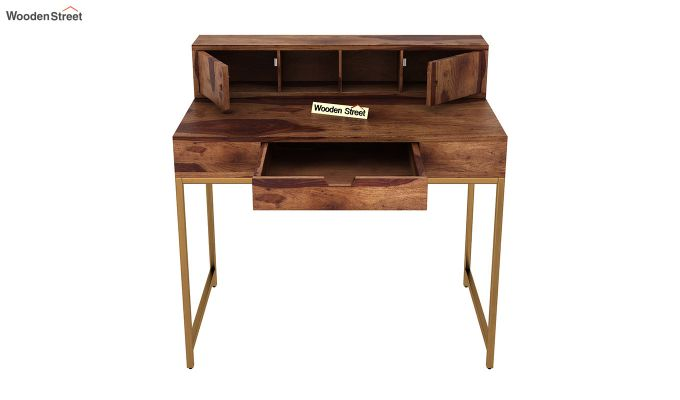 Rizzel Study Table With Shelf and Metal Legs (Teak Finish)-6