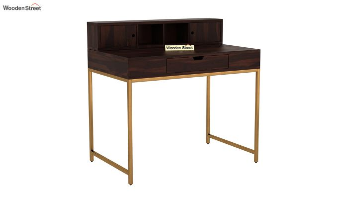Rizzel Study Table With Shelf and Metal Legs (Walnut Finish)-2