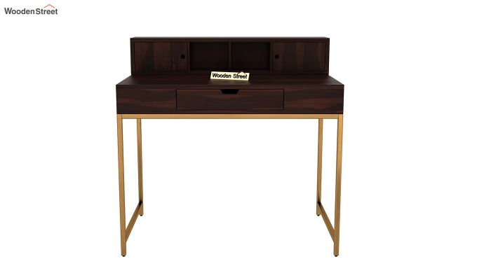 Rizzel Study Table With Shelf and Metal Legs (Walnut Finish)-3