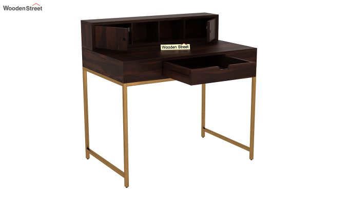 Rizzel Study Table With Shelf and Metal Legs (Walnut Finish)-4