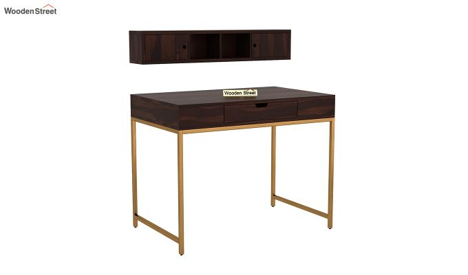 Rizzel Study Table With Shelf and Metal Legs (Walnut Finish)-5