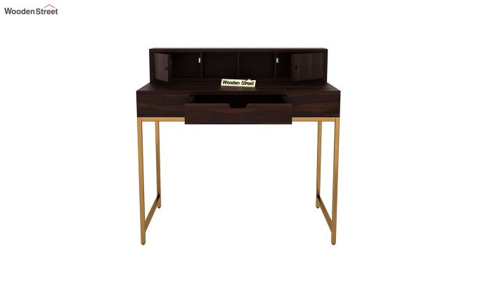 Rizzel Study Table With Shelf and Metal Legs (Walnut Finish)-6