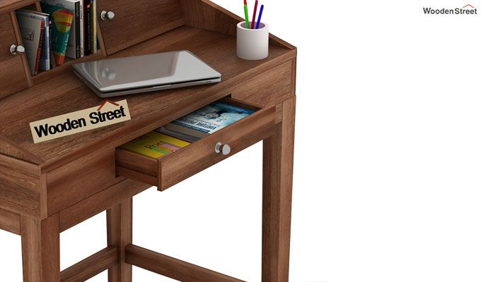 Rizzel Study Table With Shelf (Teak Finish)-4