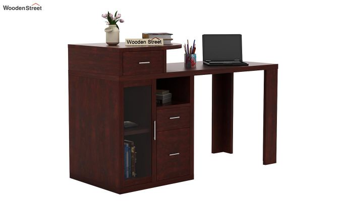 Sarah Study Desk With Storage (Mahogany Finish)-1