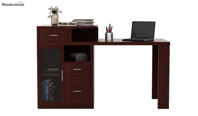 Sarah Study Desk With Storage (Mahogany Finish)-2