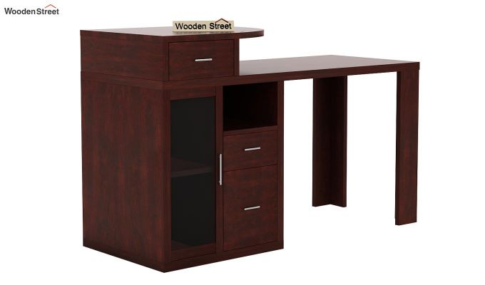 Sarah Study Desk With Storage (Mahogany Finish)-3