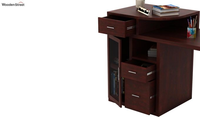 Sarah Study Desk With Storage (Mahogany Finish)-5