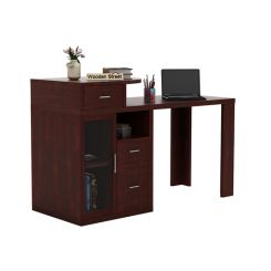 Sarah Study Desk With Storage (Mahogany Finish)