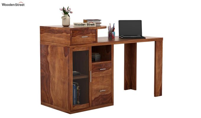 Sarah Study Desk With Storage (Teak Finish)-1