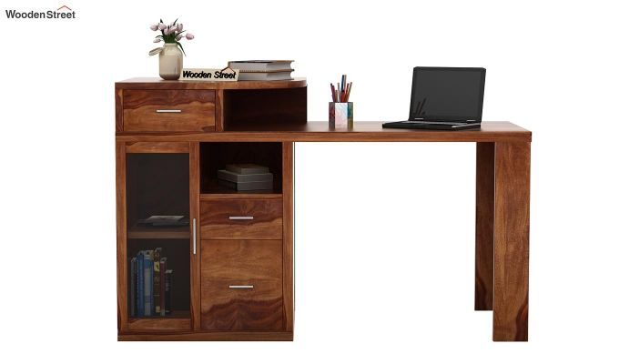 Sarah Study Desk With Storage (Teak Finish)-2