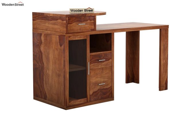 Sarah Study Desk With Storage (Teak Finish)-3