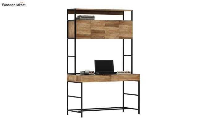 Serra Study Table With Storage Drawers (Natural Finish)-2
