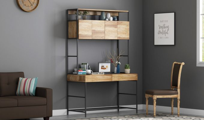 Buy Serra Study Table With Storage Drawers Natural Finish