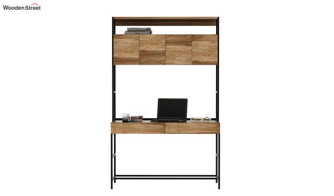 Serra Study Table With Storage Drawers (Natural Finish)-3