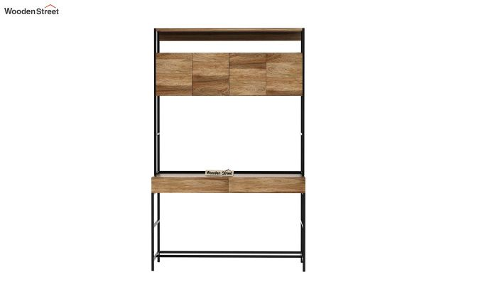 Serra Study Table With Storage Drawers (Natural Finish)-5