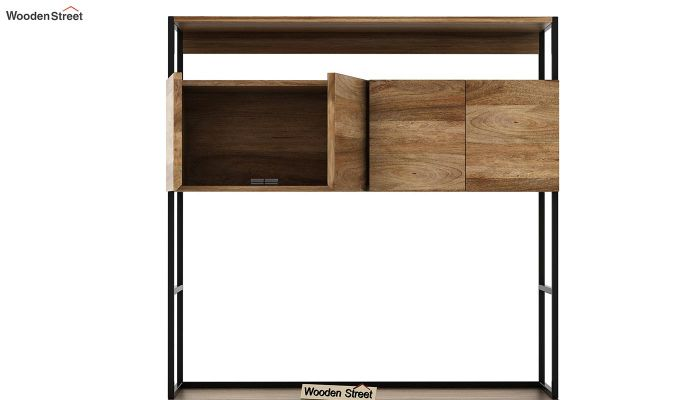 Serra Study Table With Storage Drawers (Natural Finish)-6