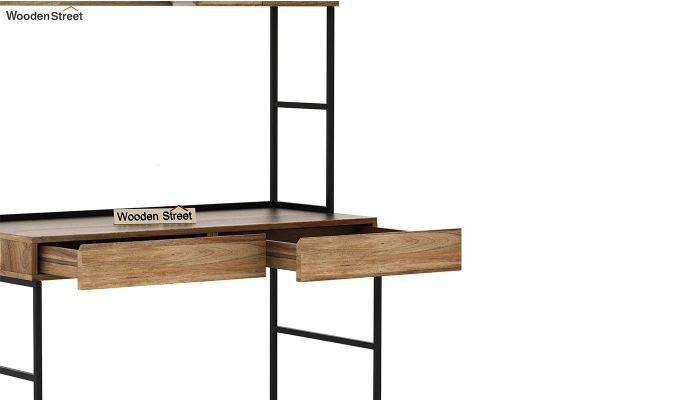 Serra Study Table With Storage Drawers (Natural Finish)-7