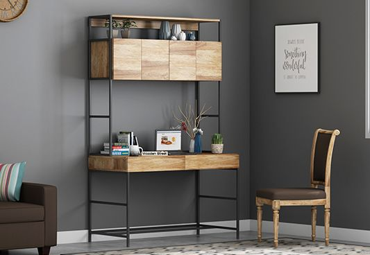 Serra Study Table With Storage Drawers (Natural Finish)