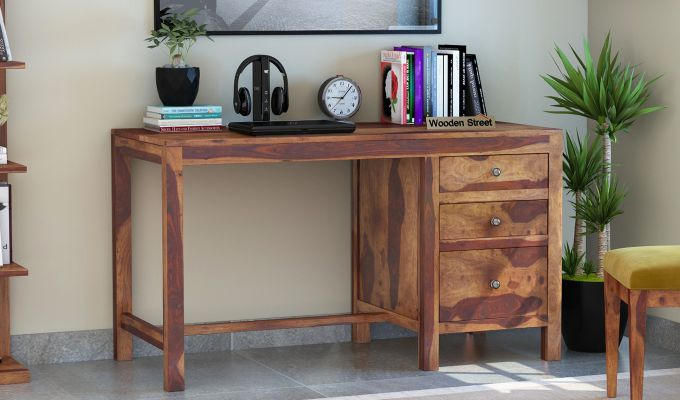 Slater Study Table With Drawer (Teak Finish)-1