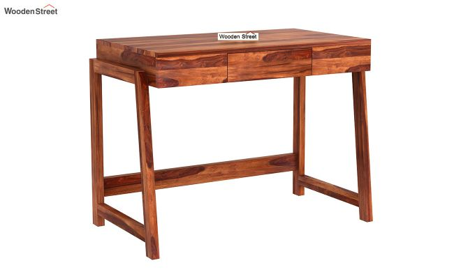Stamper Wooden Desk (Honey Finish)-2
