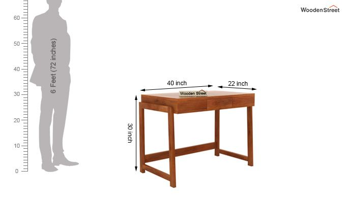 Stamper Wooden Desk (Honey Finish)-5